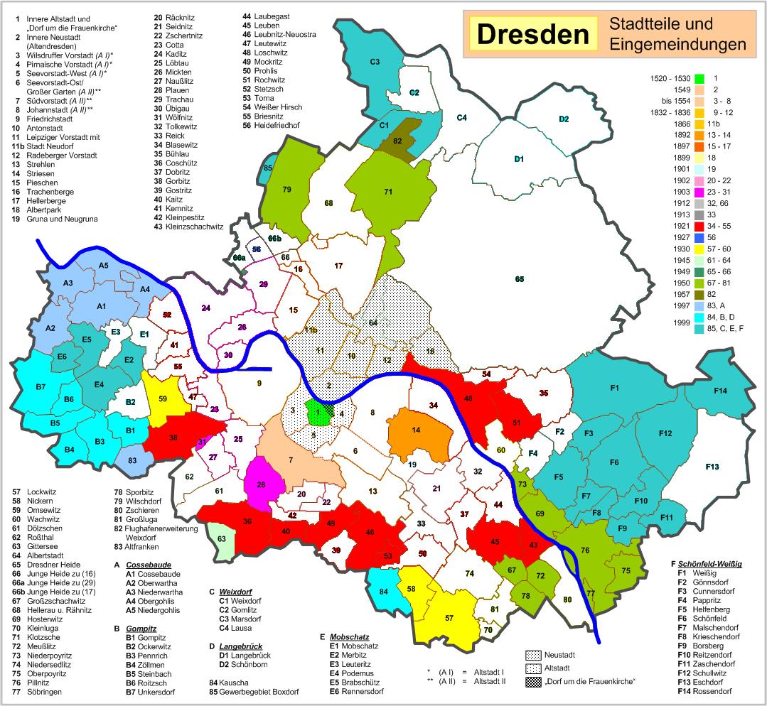 Dresden: besuchte Stadtteile