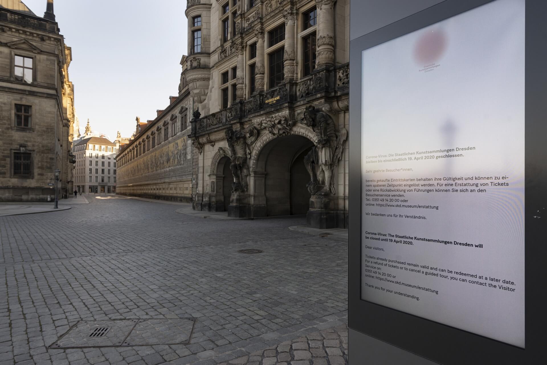 Dresden: Georgentor, Fürstenzug, Frühjahr 2020, Eindrücke von der Ausgangsbeschränkung während der COVID-19 Pandemie