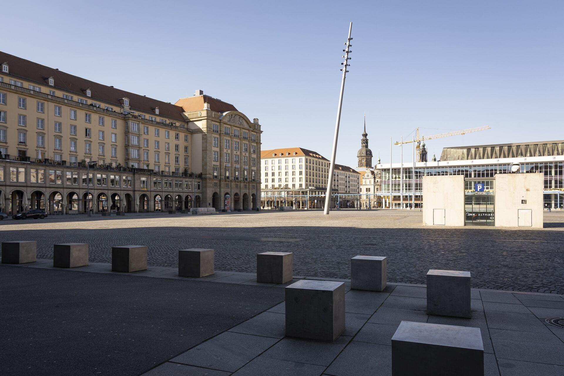 Dresden: Altmarkt, Frühjahr 2020, Eindrücke von der Ausgangsbeschränkung während der COVID-19 Pandemie