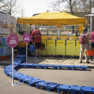 Dresden, Frühjahr 2020, Corona, Pandemie, Wochenmarkt